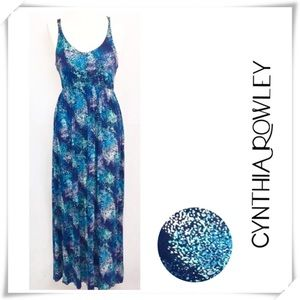NWOT Cynthia Rowley Graphic Print Maxi Dress Blue